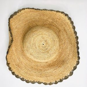 ATHLETA Straw Hat With Scalloped Edge
